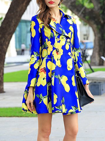 Blue V Neck Long Sleeve Trench Coat