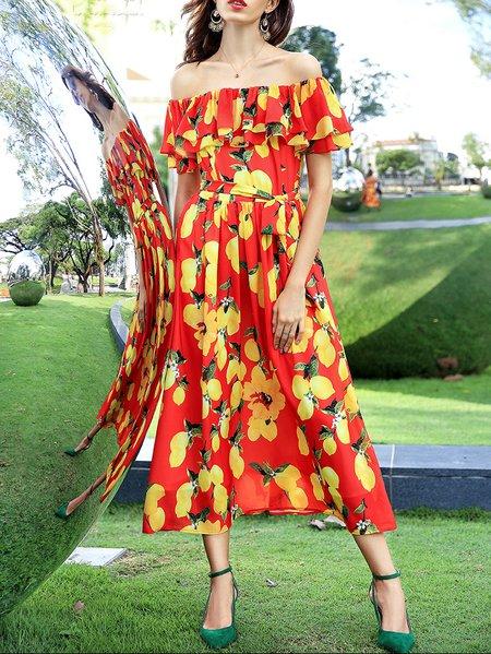 Red Off Shoulder Beach Chiffon Boho Dress