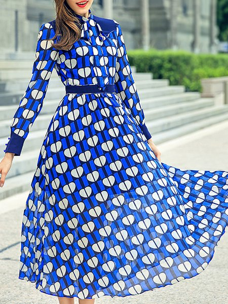 Blue Printed Long Sleeve V Neck Geometric Maxi Dress