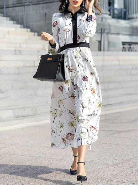 White Casual V Neck Maxi Dress