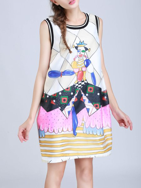 White Graphic Crew Neck Printed Sleeveless Mini Dress