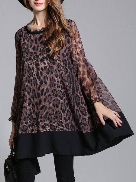 Frill Sleeve Chiffon Leopard Print Crew Neck Tunic
