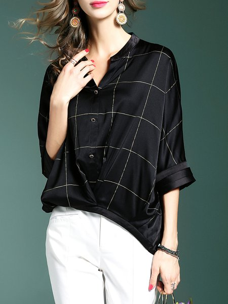 Black Casual Checkered/Plaid Buttoned V Neck Blouse