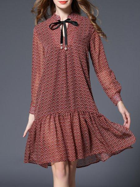 Multicolor Bow Printed A-line Casual Midi Dress