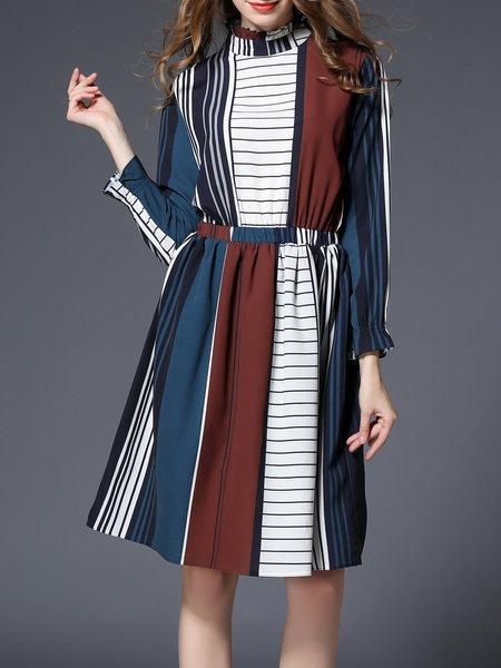 Blue Ruffled Frill Sleeve Stripes Midi Dress