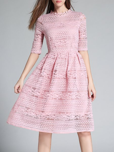 Short Sleeve Lace Guipure Casual A-line Midi Dress