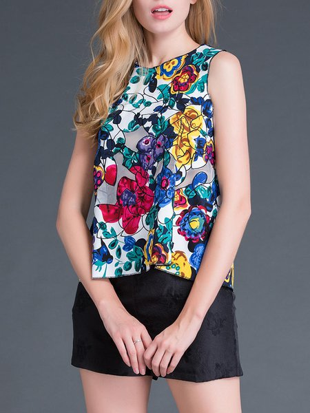 Multicolor Floral-print Casual Cotton Tanks And Cami