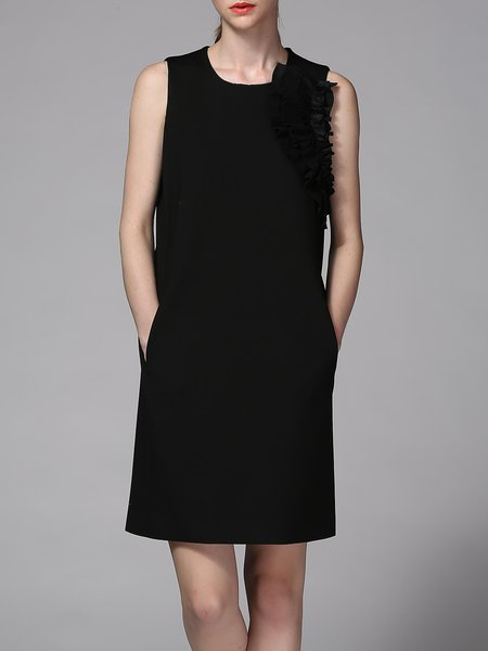 Black Simple Sleeveless Solid Ruffled H-line Mini Dress
