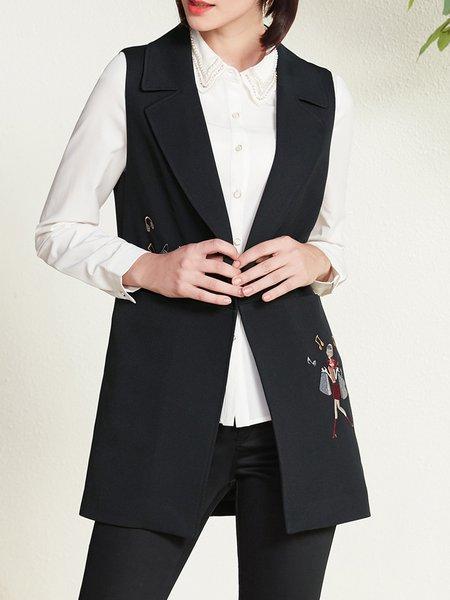 Black H-line Simple Embroidered Lapel Vest