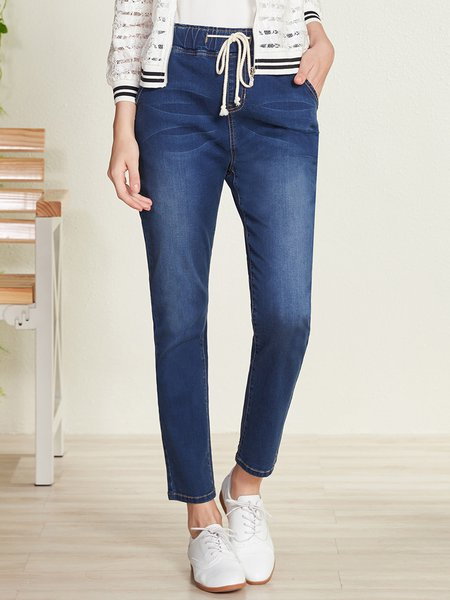 Blue Casual Pockets Denim Straight Leg Pants