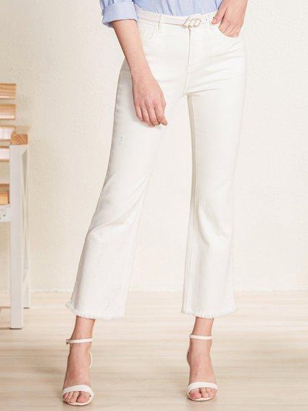Cream Sheath Pockets Casual Cotton-blend Jeans