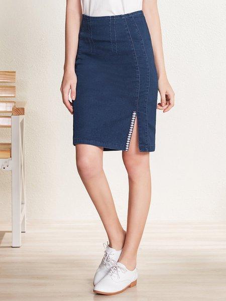 Dark Blue Denim Sheath Slit Casual Midi Skirt