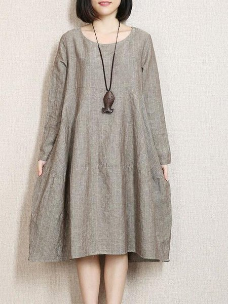 Gray Crew Neck Printed Casual Linen Dress