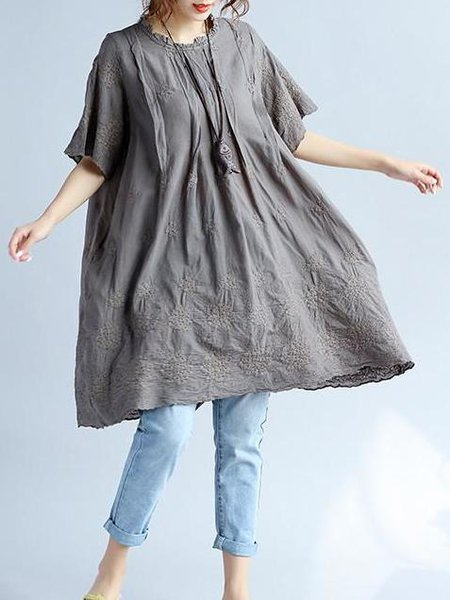 Cotton Short Sleeve Casual Linen Top