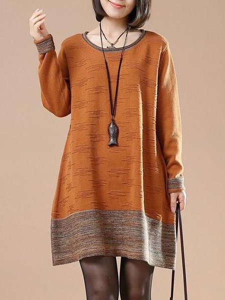 Orange Cotton Crew Neck Casual H-line Linen Dress