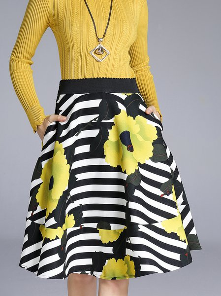 Black-white Casual Swing Printed Midi Skirt