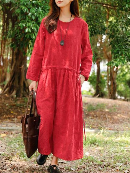 Red Linen Casual Solid Shift Linen Dress