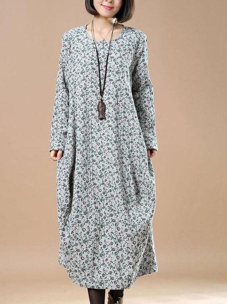 Gray Floral Long Sleeve Cocoon Cotton Linen Dress