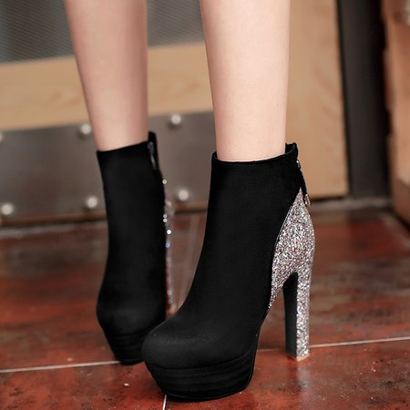 Sequin Chunky Heel Spring/Fall Casual Boots
