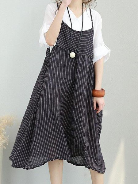 Black Sleeveless Spaghetti Linen Dress
