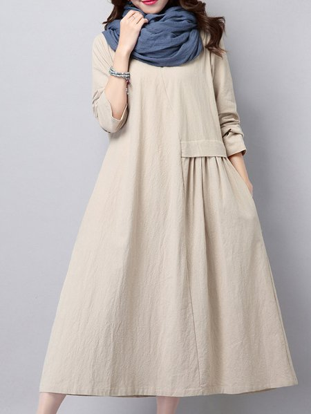 Beige Casual Linen Solid Linen Dress