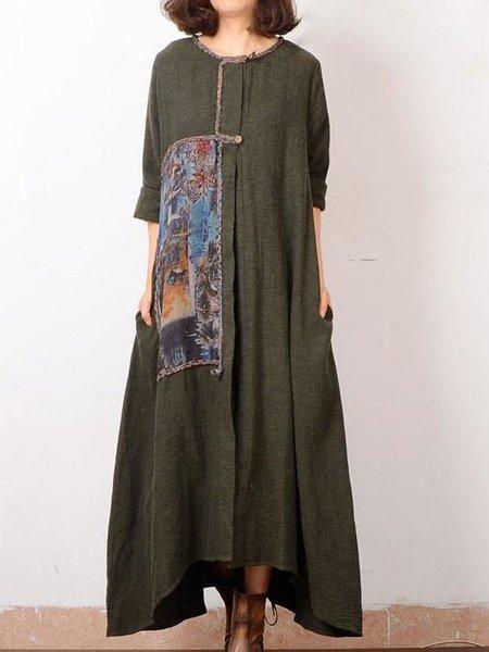 Casual Long Sleeve Cotton Crew Neck Linen Dress