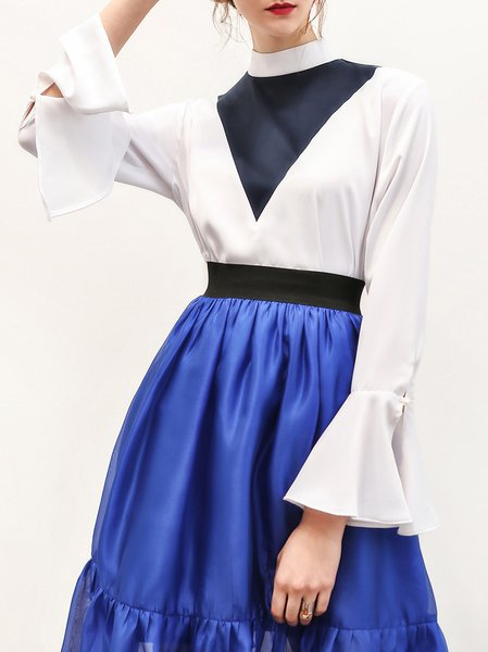 Bell Sleeve Color-block Casual Top
