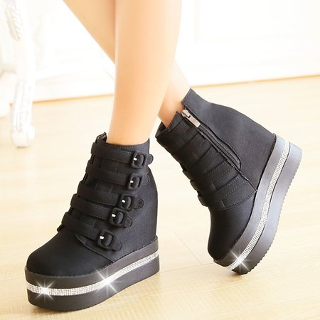 Spring/Fall PU Platform Buckle Casual Boots