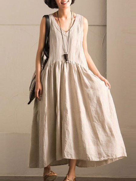 Cotton Sleeveless V Neck Casual Shift Linen Dress