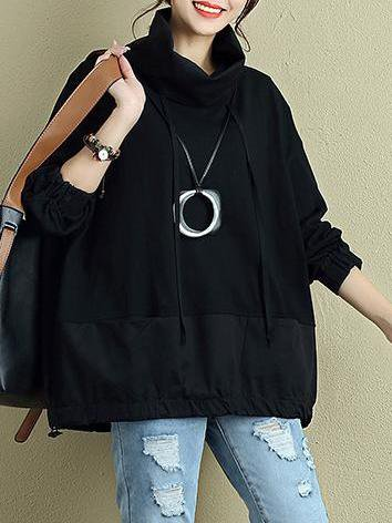 Turtleneck Casual Cotton Solid Long Sleeve Linen Top