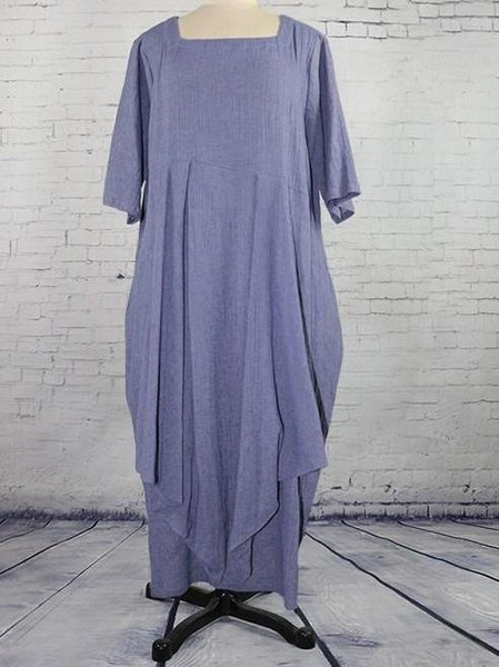 Purple Folds Casual Cocoon Linen Dress