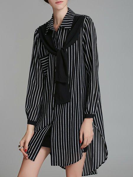 Black Shirt Collar Stripes Long Sleeve Mini Dress