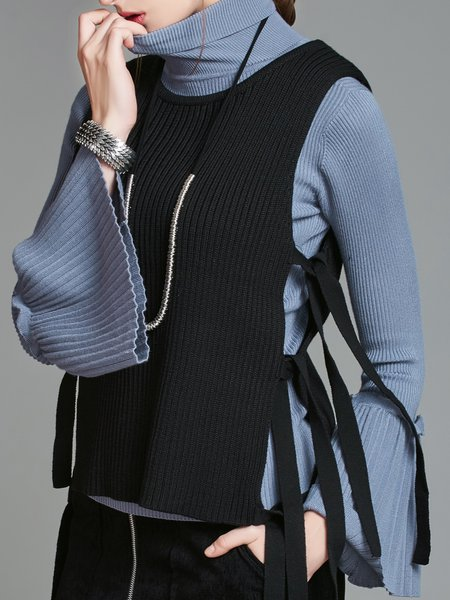 Crew Neck Sleeveless Casual Solid Sweater