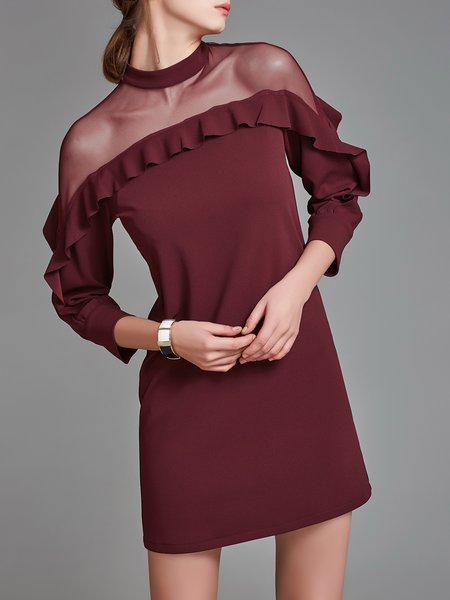 See-through Look Crew Neck Midi Dress
