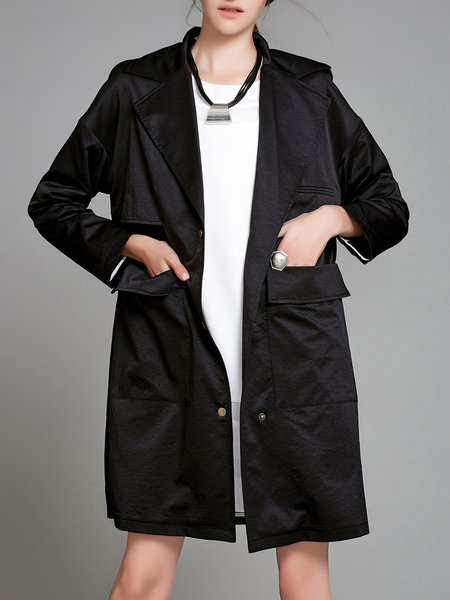 Casual Shirt Collar Pockets Coat
