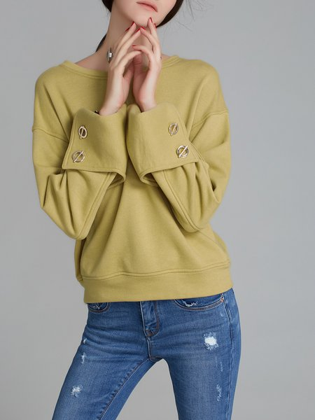 Long Sleeve Buttoned Crew Neck Cotton Top