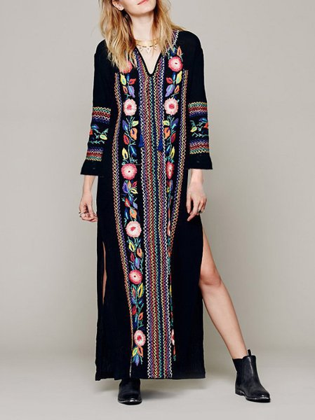 H-line Long Sleeve Boho V Neck Maxi Dress