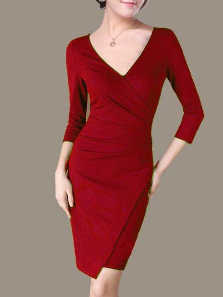 Folds Elegant 3/4 Sleeve Surplice Neck Mini Dress