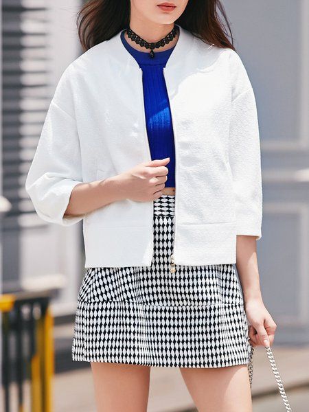 White Jacquard Casual Stand Collar Cropped Jacket