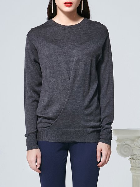 Gray Long Sleeve Plain Asymmetric Crew Neck Sweater
