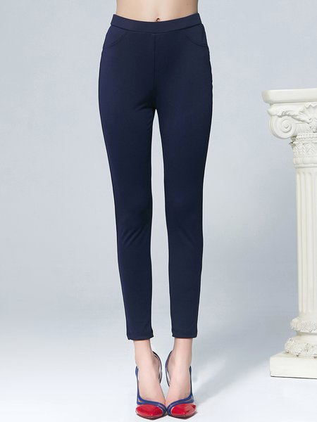 Navy Blue Casual Pockets Skinny Leg Pant