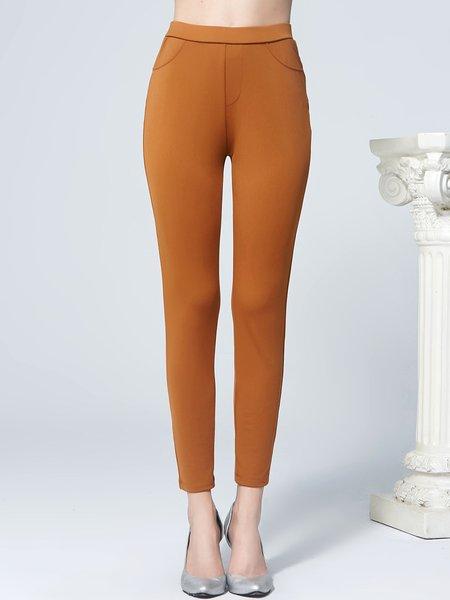 Khaki Casual Pockets Skinny Leg Pant