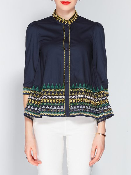 Beaded Tribal 3/4 Sleeve Embroidered Blouse