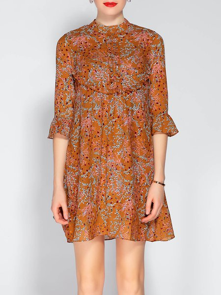 Orange Stand Collar Bell Sleeve A-line Floral-print Mini Dress