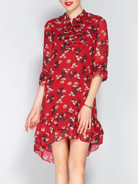 Stand Collar Floral Print Flounce Bell Sleeve Ruffled Midi Dress