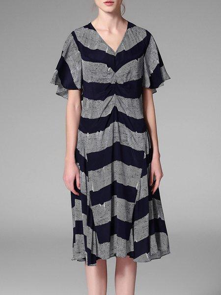 Multicolor Frill Sleeve V Neck Color-block Folds Midi Dress
