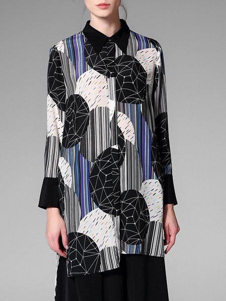 Multicolor Slit Printed Casual Silk Asymmetrical Shirt Collar Blouse