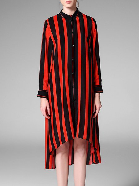 Red High Low Stripes Casual Midi Dress