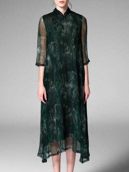 Dark Green Stand Collar Printed A-line Maxi Dress