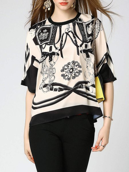 Multicolor Batwing Casual Printed Crew Neck H-line Blouse